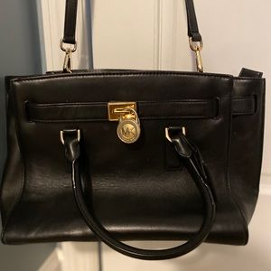 Black Leather Michael Kors Shoulder/Cross Body Bag